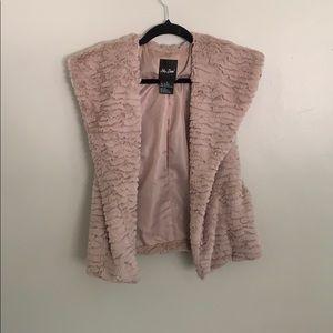 Faux blush fur vest